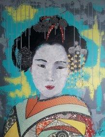 """""""Maïko"""", 73x60.Acrylique et Papiers précieux japonais."""