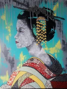 """""""Etsuko"""", 70x54.Acrylique et Papiers précieux japonais. 450 euros"""