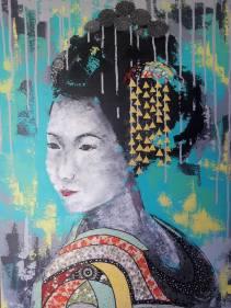 """""""Yukiha"""", 70x54.Acrylique et Papiers précieux japonais."""