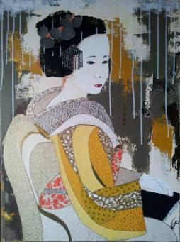 """""""Misaki"""", 73x54.Acrylique, Washis et Feuilles d'Or."""