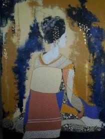 """Kiyoaka"", 73x54.Acrylique, Washis et Feuilles d'Or."