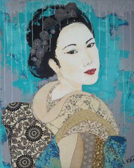 """Toile """"Portrait d'une Geisha"""""""