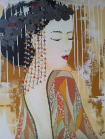 """""""Sakurako"""", 60x73.Acrylique et Papiers précieux japonais."""