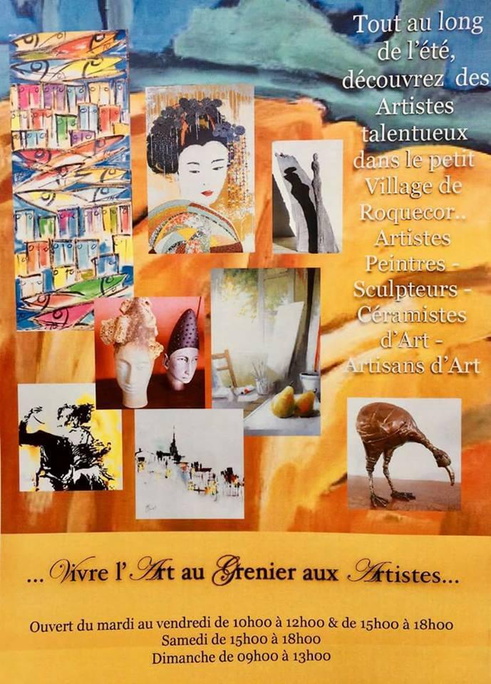 Affiche exposition Grenier aux Artistes (Roquecor)