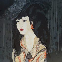 « Jeune femme au chapeau 1 », 81x100. Acrylique et Washis.