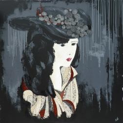 « Jeune femme au chapeau 2 », 100x100. Acrylique et Washis.