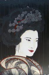 « Yukako », 50x100. Acrylique et Washis.