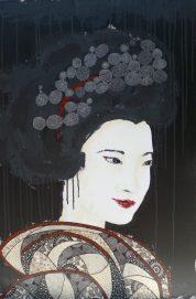 « Yukako », 50x100. Acrylique et Washis. 550 euros