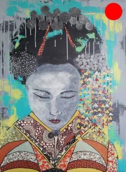 """""""Geisha"""", 73x54.Acrylique et Papiers précieux japonais.ACQUISE"""