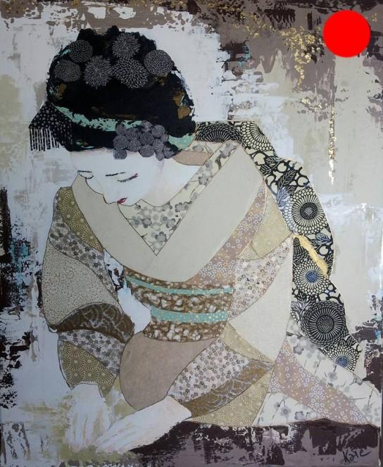 """""""Akiha"""", 60x73.Acrylique, Washis et Feuilles d'Or.ACQUISE"""