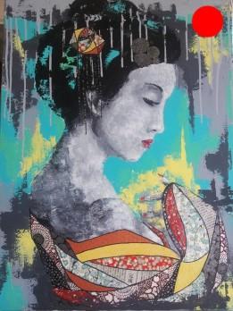 """""""Entre Soleil Levant & Occident"""", 73x54.Acrylique et Papiers précieux japonais.ACQUISE"""