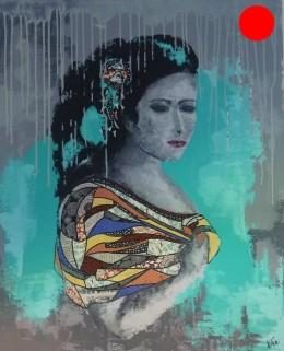 """""""Juliette"""", 100x81.Acrylique et Papiers précieux japonais.ACQUISE"""