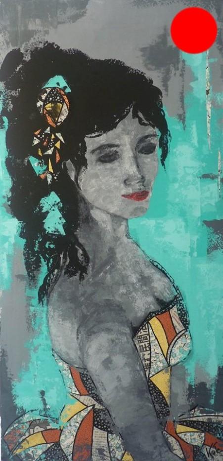 """""""Kate"""", 50x100.Acrylique et Papiers précieux japonais.ACQUISE"""