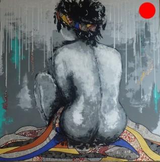 """""""Sensualité"""", 100x100.Acrylique et Papiers précieux japonais.ACQUISE"""