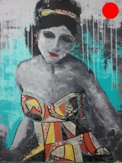 """""""La Madone"""", 55x73.Acrylique et Papiers précieux japonais.ACQUISE"""