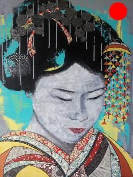 """""""Nijika"""", 70x60.Acrylique et Papiers précieux japonais.ACQUISE"""