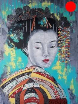"""""""Petite Geisha"""", 73x54.Acrylique et Papiers précieux japonais.ACQUISE"""