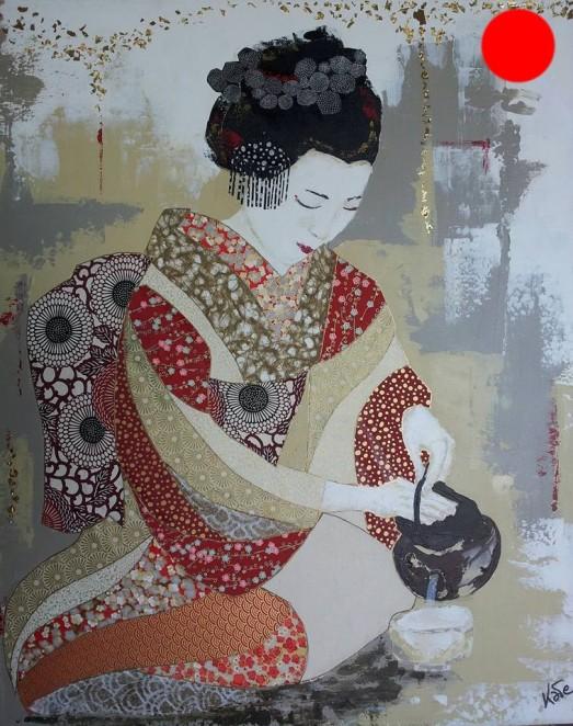 """""""Yukiyo"""", 60x73.Acrylique, Washis et Feuilles d'Or.ACQUISE"""