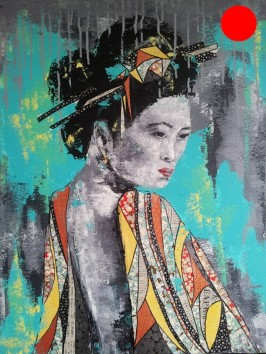 """""""Karine"""", 60x73.Acrylique et Papiers précieux japonais.ACQUISE"""