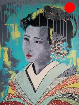 """""""Geisha"""", 73x60.Acrylique et Papiers précieux japonais.ACQUISE"""