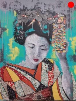 """""""Geisha"""", 60x73.Acrylique et Papiers précieux japonais.ACQUISE"""
