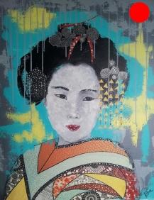 """""""Maïko"""", 73x60.Acrylique et Papiers précieux japonais.ACQUISE"""
