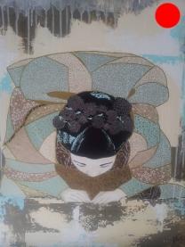 """""""Miwa"""", 54x65.Acrylique, Washis et Feuilles d'Or.ACQUISE"""