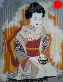 """""""Okimi"""", 73x60.Acrylique, Washis et Feuilles d'Or.ACQUISE"""