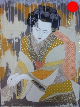 """""""Tsuguho"""", 73x54.Acrylique, Washis et Feuilles d'Or.ACQUISE"""