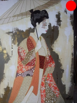 """""""Tsuyuko"""", 73x54.Acrylique, Washis et Feuilles d'Or.ACQUISE"""