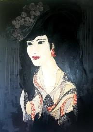 « Jeune femme au chapeau 1 », 81x100. Acrylique et Washis. 700 euros