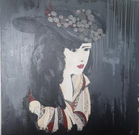 « Jeune femme au chapeau 2 », 100x100. Acrylique et Washis. 850 euros